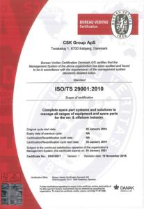ISO 29001:2010 certifikat